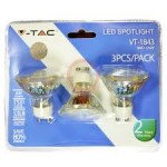 LED Spotlight - 4W GU10 Glass Cup Warm White/4500K Blister Pack 3pcs 120 ° 320 lm