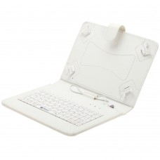 "Leather Keyboard for 9"" tablet w/micro usb white/pink/black"