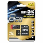 SD Micro 8GB Class4 Planet +SD Adapter + USB Card Reader PMMSD8CR